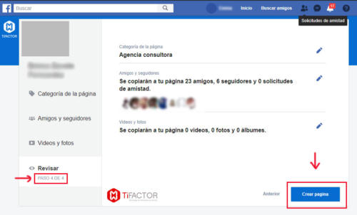Cuenta de perfil a página de facebook - paso 4 de 4